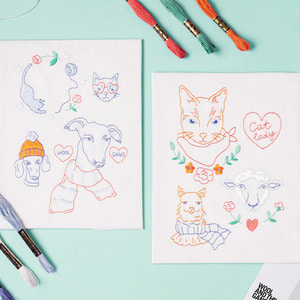Super fluffy animals Embroidery kit